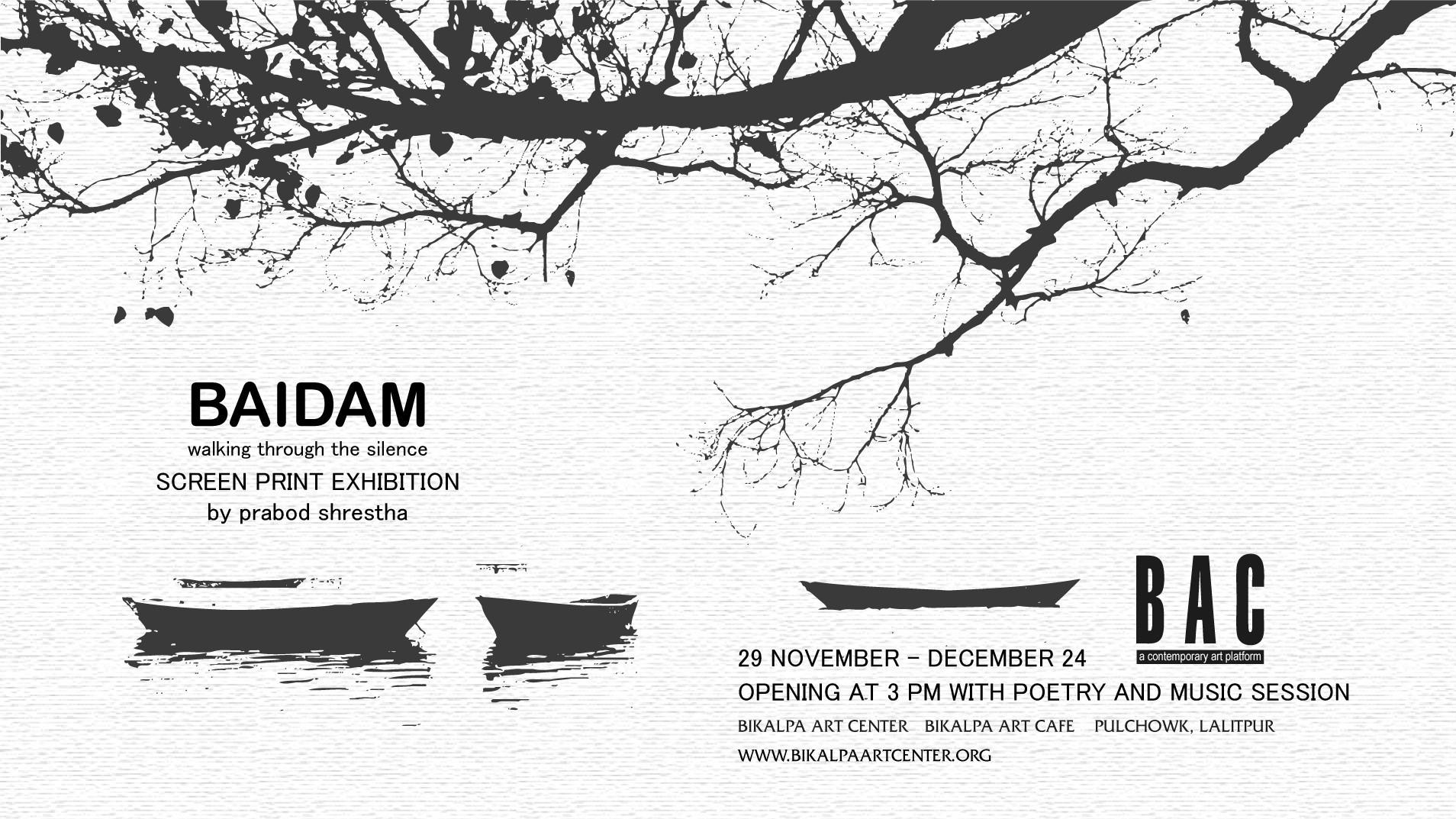 Baidam, walking through silence screen print exhibition